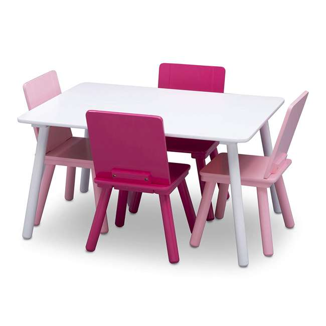 TT87413GN-130 Delta Children Kids Wooden Play Activity Table and 4 Chair Set, White & Pink