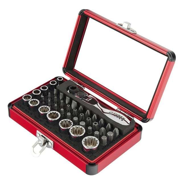 """9732 Sunex 9732 44-Piece Mini Bit & Socket Set w/ 1/4"""" Drive Dual Flex Head Ratchet"""