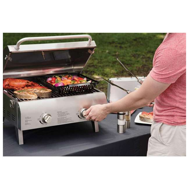 CGG-306 Cuisinart Chef's Style Stainless Two Burner Tabletop Propane Gas Grill Silver 3