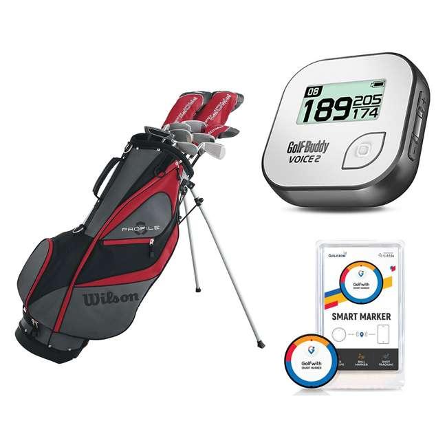 WGGC5800L + GB7-VOICE2-GREY + PGSMGps Wilson Men's Golf Club Set + Golf Buddy GPS Range Finder + Golfwith Smart Marker