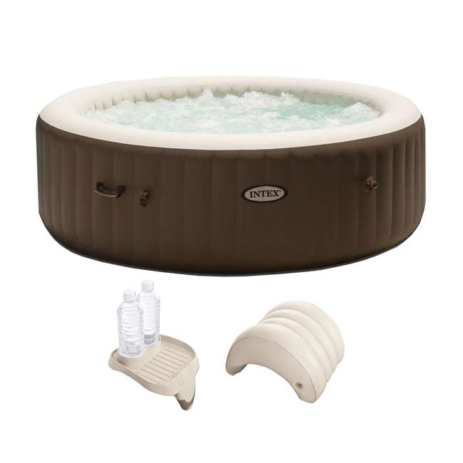 28407VM + 28500E + 28501E Intex PureSpa 6-Person Hot Tub with Cupholder and Headrest