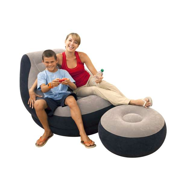 68564EP + 66636E Intex Inflatable Ultra Lounge Chair And Ottoman and 12-Volt Electric Air Pump 2