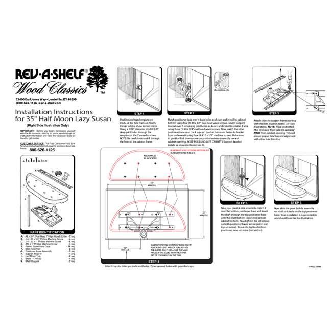 4WLS882-35-570 Rev-A-Shelf 4WLS882-35-570 35 Inch Wooden Cabinet 2 Shelf Lazy Susan, Half Moon 5