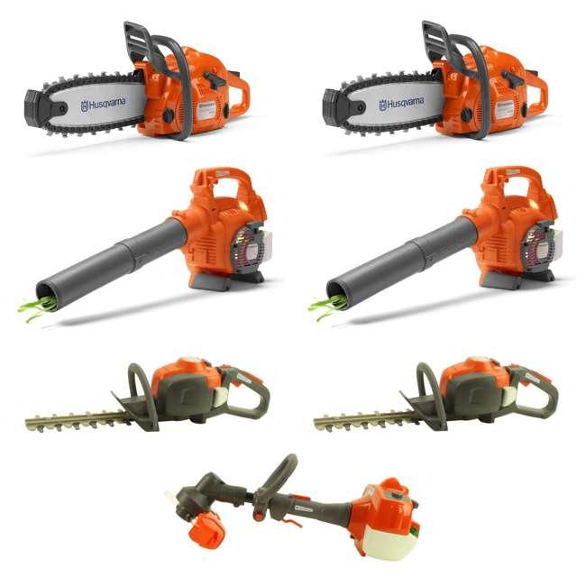 HV-TOY-522771104 + 2 x HV-TOY-589746401 + 2 x HV-T Husqvarna Toy Chainsaw, Leaf Blower, Hedge Trimmer 2-Packs Each & Lawn Trimmer