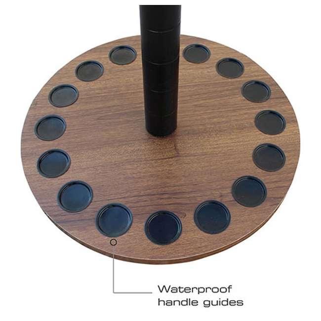 38-3028 Rush Creek Creations 38-3028 2.5ft Dark Walnut Wood 16 Fishing Rod Round Rack 5