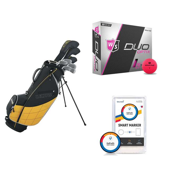 WGGC43000 + WGWP43500 + PGSMGps Wilson Men's Right-Hand Golf Club Set + Golf Balls + Golf Shot Distance Tracker