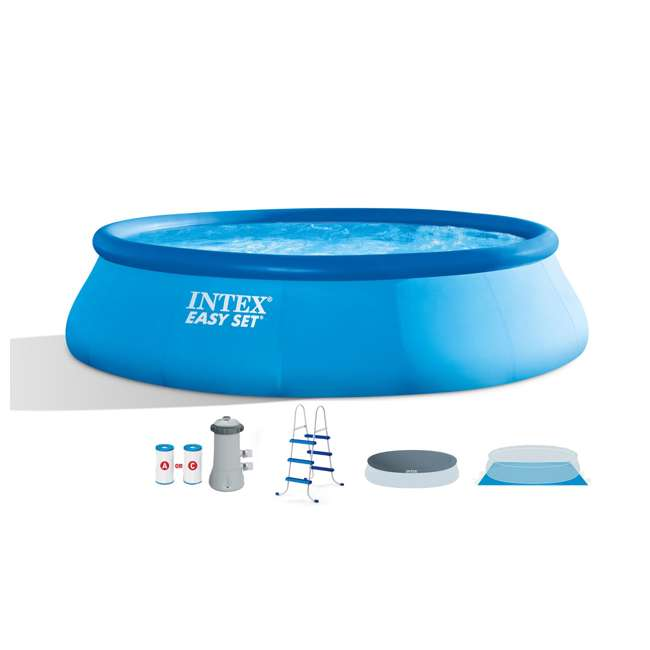 """26165EH-U-A Intex 15'x42"""" Inflatable Above Ground Pool w/ Ladder & Pump  (Open Box) (2 Pack)"""