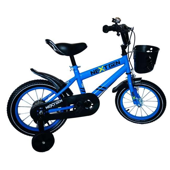 14BK-BLU NextGen 14 Inch Childrens Kids Bike Bicycle with Training Wheels & Basket, Blue 1
