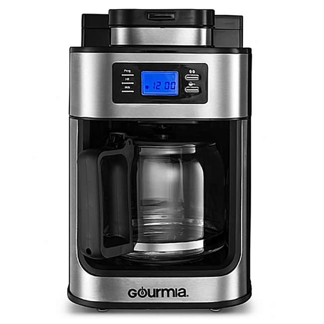 GCM4700 Gourmia Gourmet Stainless Steel Programmable Coffee Maker with Built In Grinder