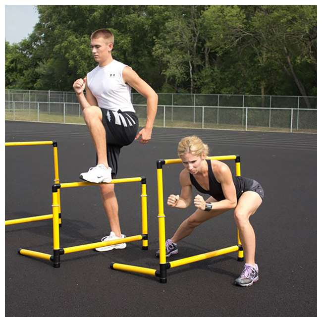 400-120-210 Prism Fitness 6 Inches Tall Smart Fixed-Height Track Workout Hurdles, Set of 6 1