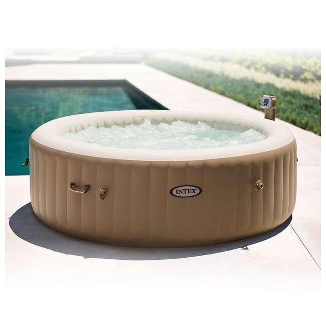 intex inflatable pure spa 6 person portable heated bubble jet hot tub 28407e. Black Bedroom Furniture Sets. Home Design Ideas