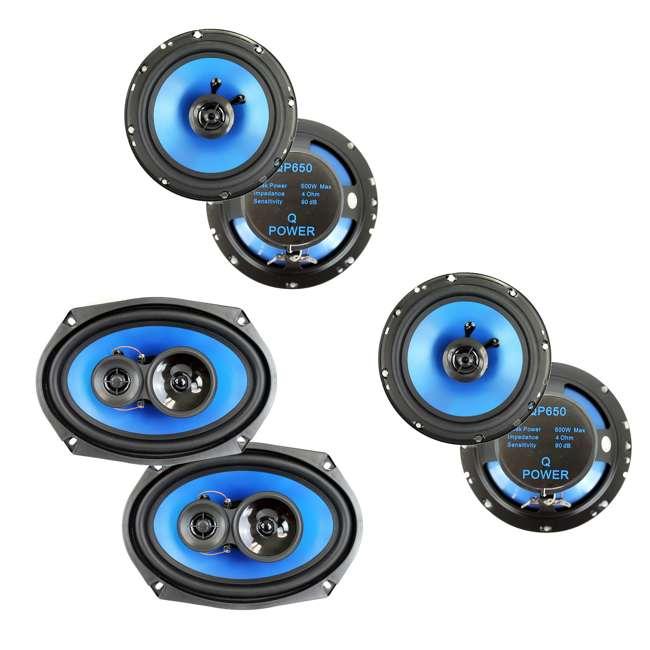 """QP650 + QP693 Q POWER 6.5"""" 300 Watt Speakers (4 Pack) + 6x9"""" Speakers (Pair)"""