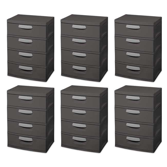 6 x 01743V01 Sterilite 4-Drawer Storage Unit (6 Pack)