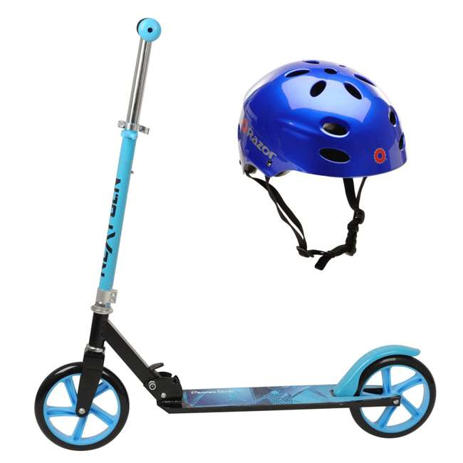 114-NXT + 97981 NextGen Scooters Denver Scooter, Blue and Black & Razor Helmet, Glossy Blue