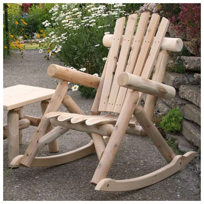 CF1125 Lakeland Mills Country Cedar Log Wood Outdoor Porch Patio Rocking Chair, Natural 2