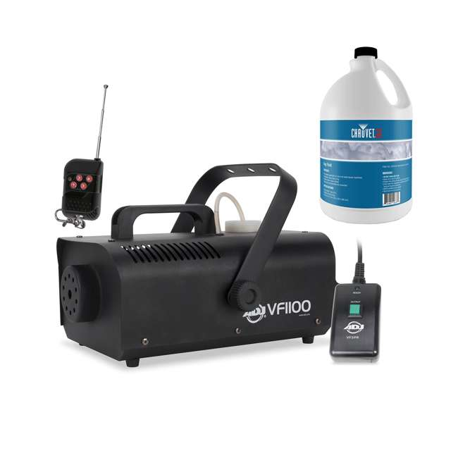 VF1100 + FJU American DJ 1000W Fog Machine with Remotes and Chauvet Fog Juice Fluid (1 Gallon)