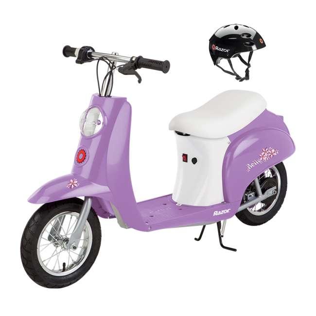 15130661 + 97780 Razor Pocket Mod Electric Retro Scooter, Purple & Helmet