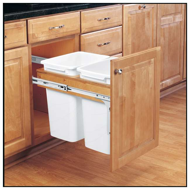 4WCTM-18DM2-25 Rev A Shelf 35 Quart Pull Out Sliding Double Waste Trash Container Bin, White 1