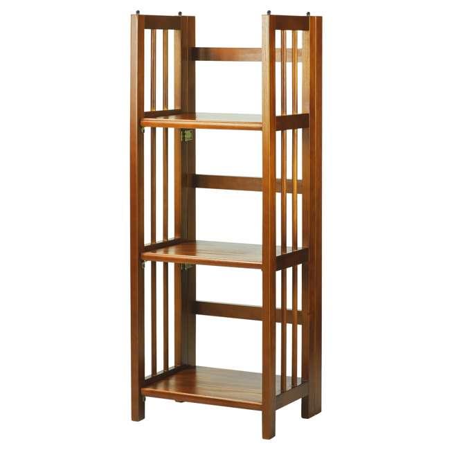 331-35 Casual Home 3 Shelf 14 Inch Folding Office Wood Furniture Bookcase, Honey Oak