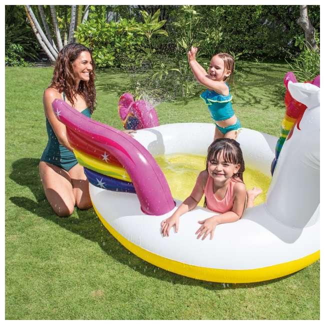 "57441EP Intex 57441EP 107 x 76 x 41"" Inflatable Rainbow Mystic Unicorn Spray Kiddie Pool 3"