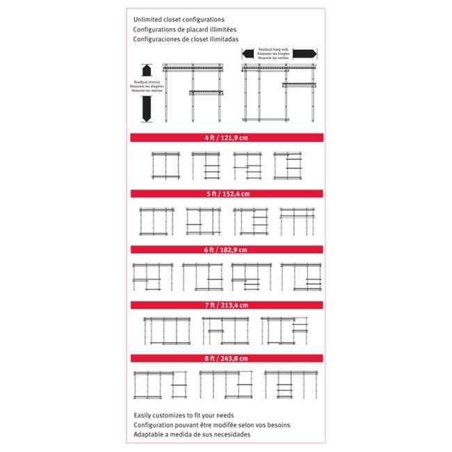 2060336 Rubbermaid Deluxe Custom Closet Organizer System Kit, 4-to-8-Foot, Titanium 4