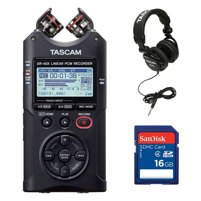 DR-40X + SD4-16GB-SAN + TH02-B Tascam 4-Track Digital Audio Recorder + Memory Card + Home & Studio Headphones