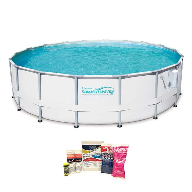 P40016481167 + QLC-42003 Summer Waves Elite 16 Ft Metal Frame Above Ground Pool w/ Pump & Cleaning Kit