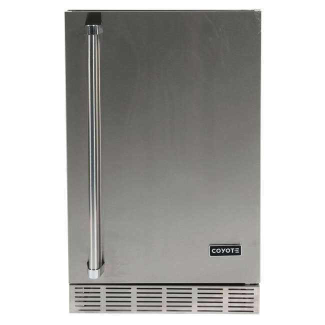 CBIR-R Coyote Outdoor 21 Inch Steel Built In Right Hinge Outdoor Refrigerator, Silver
