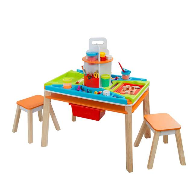10091 Kidcraft 10091 Ultimate Creation Station Kids Activity Art Table with Two Stools