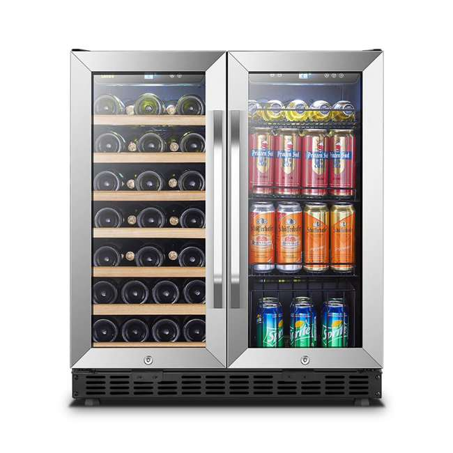 LW3370B Lanbo Lockable Large Built In 33 Bottle/70 Can Wine and Beverage Refrigerator