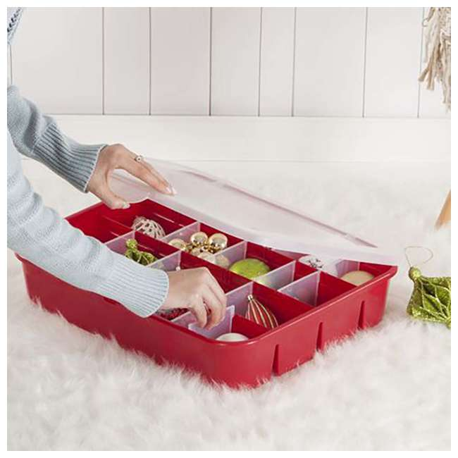 12 x 19796606 Sterilite Adjustable Ornament Storage Box, Red (12 Pack) 5