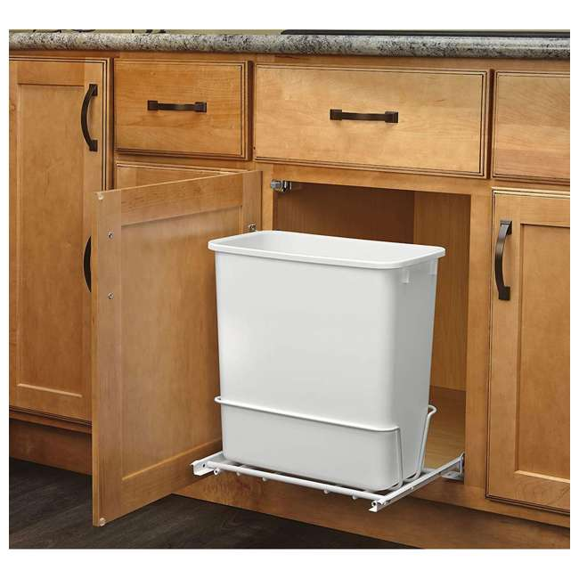 RV-814PB-U-A Rev A Shelf 20 Quart Undermount Pullout Waste Container, White(Open Box)(2 Pack) 2