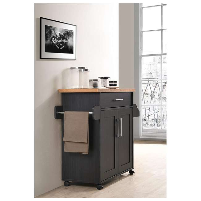 HIK78 BLACK-BEECH Hodedah Wheeled Kitchen Island with Spice Rack and Towel Holder, Black/Beech 2