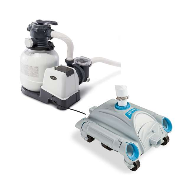 26645EG + 28001E Intex Pool Sand Filter Pump w/ Automatic Pool Vacuum