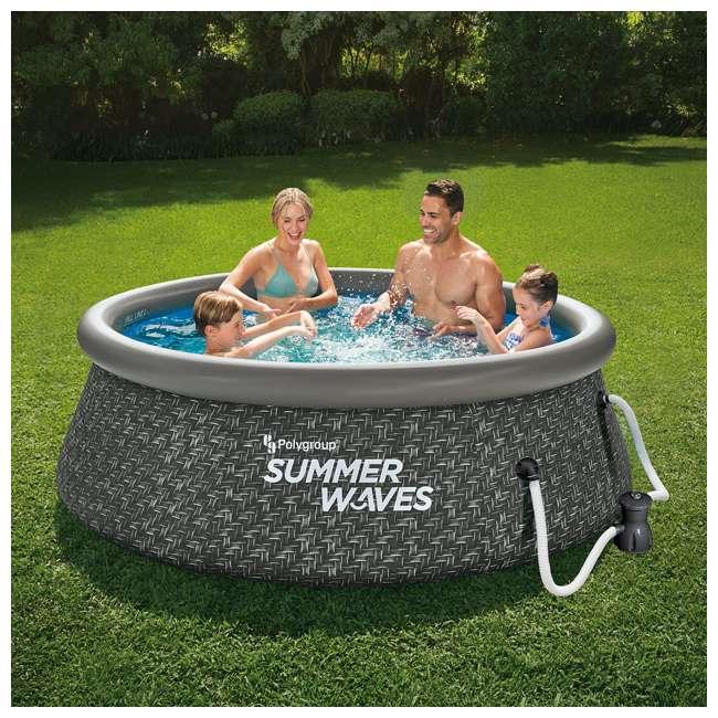 P1A00830A167 Summer Waves 8 x 2.5 Foot Quick Set Ring Above Ground Pool w/ Pump, Dark Wicker 1