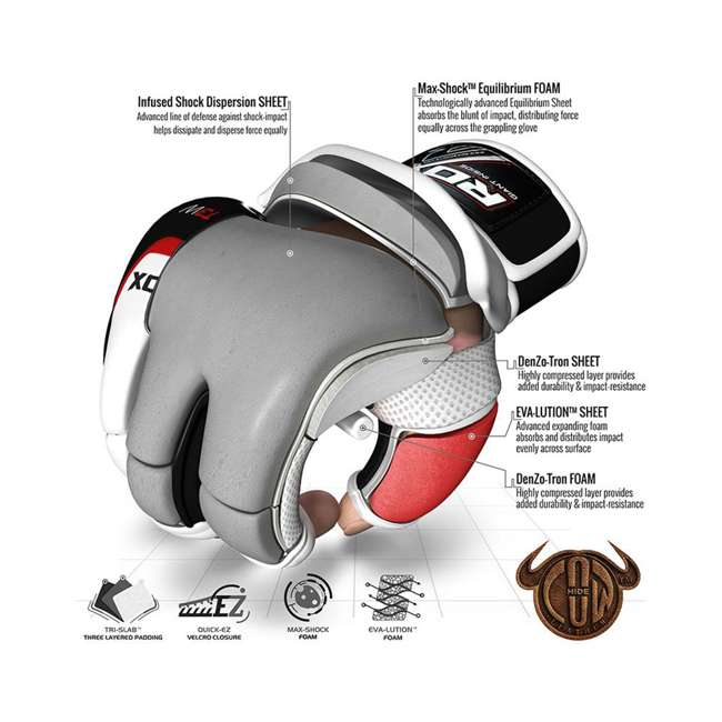 GGL-T3W-L RDX T3 MMA Gel Padded Combat Grappling Gloves, Large 3