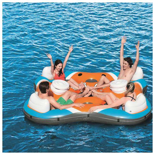 43115E-BW-U-A Bestway 101-Inch Rapid Rider 4-Person Floating Raft w/ Coolers(Open Box)(2 Pack) 7