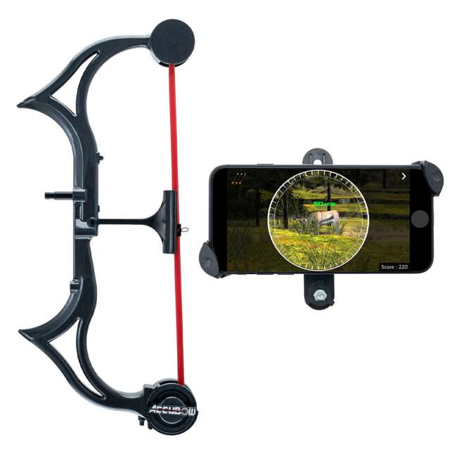 CF/ACCUBOW-4 + A-PHMOUNT-01 AccuBow Bow Hunting Archery Trainer with Adjustable Resistance + Phone Mount Accessory