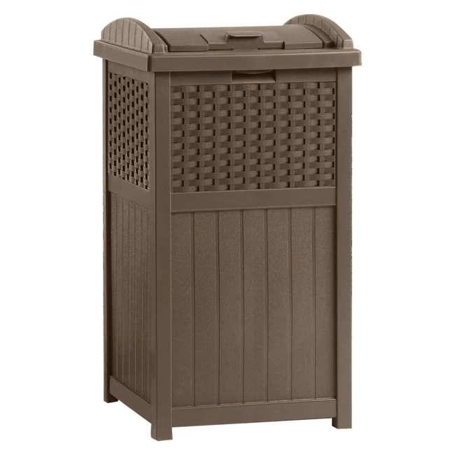 GHW1732-U-A Suncast  GHW1732 Home Patio Resin Wicker Trash Can Hideaway - (Open Box)(2 Pack)