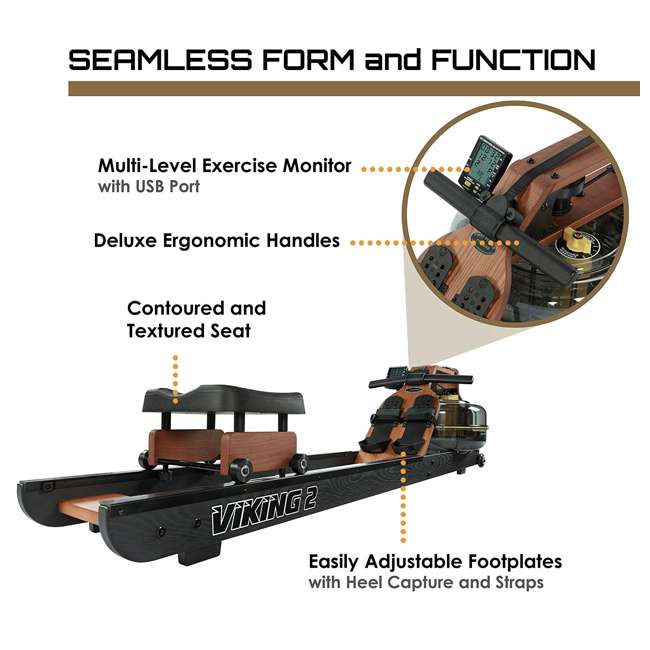 VIK2ARB First Degree Fitness Indoor Water Rower with Adjustable Resistance - Apollo Pro II Black Reserve 5