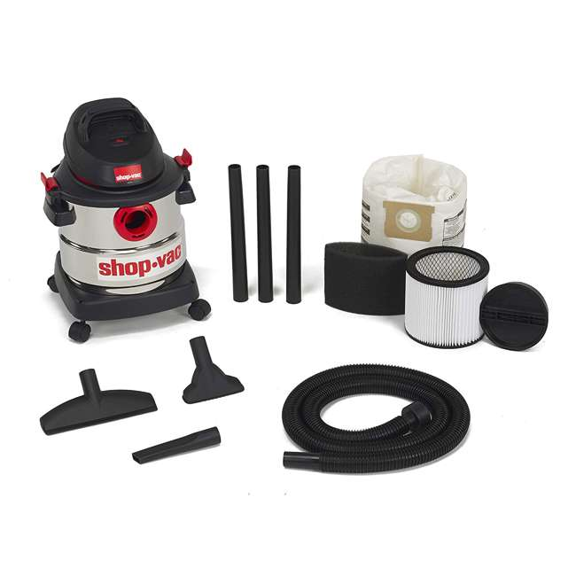 5989300 Shop Vac Stainless Steel Portable 5 Gallon Wet Dry Vacuum Floor Cleaner & Blower 1