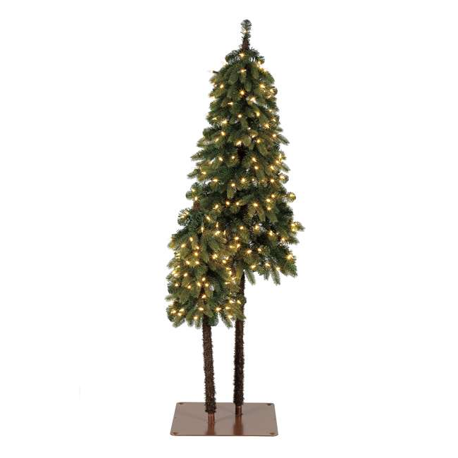 TV50P2819L01 Home Heritage True Bark 3 Foot & 5 Foot Twin Christmas Trees with White Lights