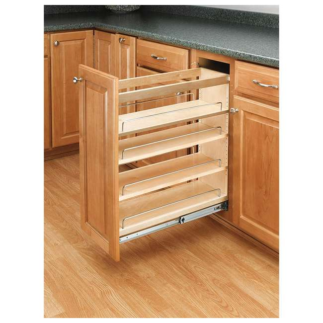 448-BC-8C-16 Rev-A-Shelf 448-BC-8C Base Cabinet Pullout Organizer w/ Wood Adjustable Shelves 1