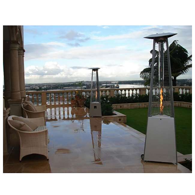 HLDS01-CGTSS AZ Patio Heaters Tall Triangle Glass Tube Propane Heater, Stainless Steel 1