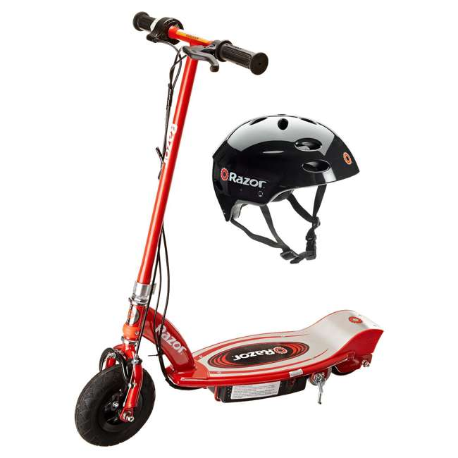 13111260 + 97778 Razor E100 Electric Scooter (Red) & Youth Sport Helmet (Black)