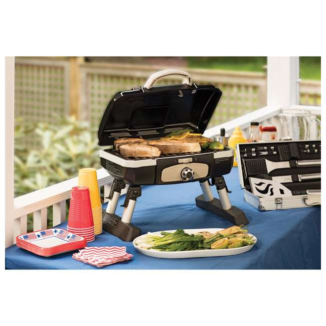 CGG-180TB Petite Gourmet Gas-Fueled Outdoor Grill, Black  1
