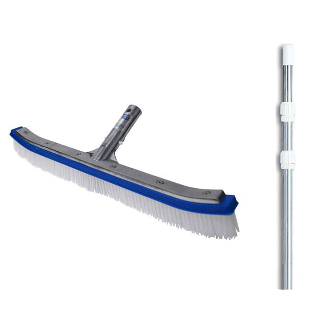 B3518 + 8350M Blue Devil 18 Inch Pool Wall Cleaning Brush Head + 12 Foot Telescopic Pool Pole