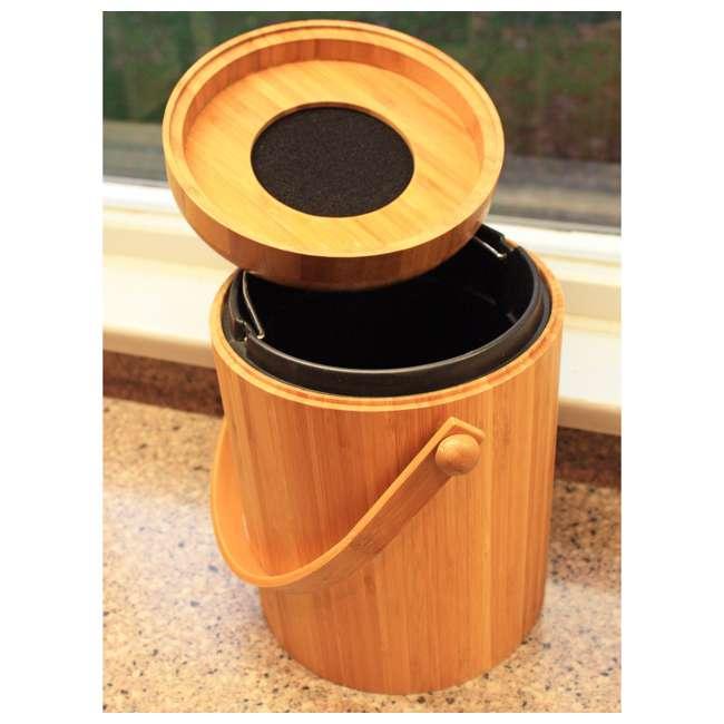 KA-BB3Q Good Ideas Portable 3-Quart Bamboo Kitchen Compost Pail w/ Odor-Blocking Filter 2