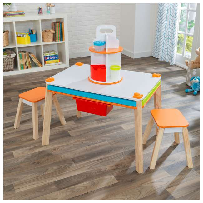 10091 Kidcraft 10091 Ultimate Creation Station Kids Activity Art Table with Two Stools 1