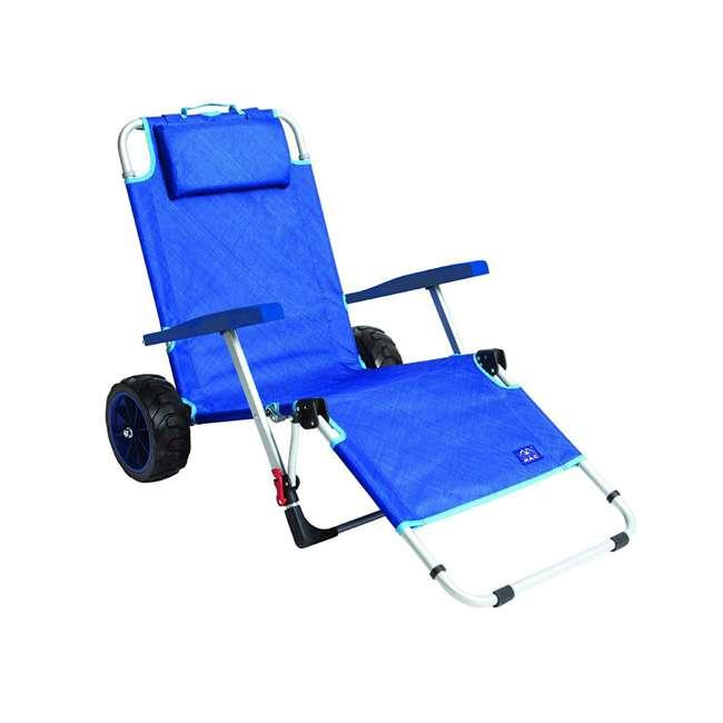 MAC-BD-200 Mac Sport 2-in-1 Beach Day Folding Lounger Chair & Wagon Cart w/ Lock, Blue 1